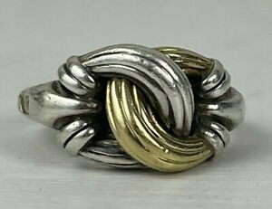 Lagos Knot Ring Sterling Silver 18k Gold Sz 7