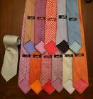 Herms 100% silk mens ties vintage lot of 12 made in France