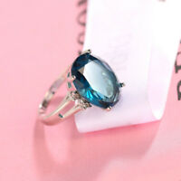 London Blue Topaz Solid Silver Woman Ring Size 6-10 As Holiday Gift For Woman