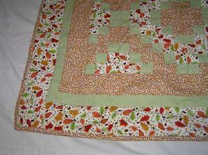Handmade Crib Quilt - Fall Leaves in Orange, Cream, Green  40X48