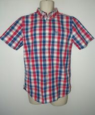 Superdry London Button Down Shirt Red white blue Check Casual Shirt Mens Medium
