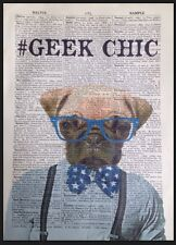 Pug Dog Print Vintage Dictionary Page Wall Art Picture Geek Chic Bow Tie Hipster