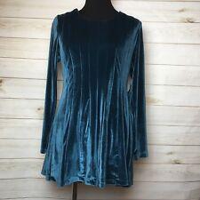 Soft Surroundings Bella Rosa Dark Teal Blue/Green Velvet Tunic Top sz M