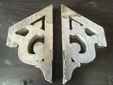 Pair Antique Angled Corbels Roof Bracket Victorian Shabby Cottage