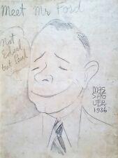 Cuban Art. Caricature by Massaguer. Meet Mr Ford, 1936. Original signed.