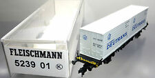 "Fleischmann 523901; container carrello portante ""Deutrans"" DB, mattoncini in scatola originale/c612"
