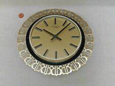 60s WEST GERMAN WALL CLOCK, Vintage GOLD METAL SUNRAY, Original BATTERY QUARTZ
