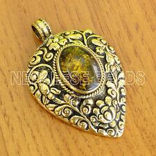 PD120 Tibetan Nepalese Handmade Repousse Resin Brass Pendant Tibet