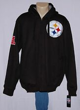 NFL Mens Pittsburgh Steelers Hoodie Jacket Full Zip Sherpa Lined Sweatshirt LRG