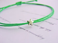 tiny silver star bright green cotton cord string adjustable friendship bracelet