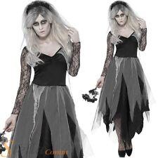 Ladies Graveyard Bride Costume Zombie Corpse Halloween Fancy Dress Undead Ghost