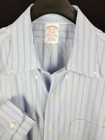 BROOKS BROTHERS Mens Blue Striped L/S Dress Shirt 16.5-32 Traditional Non-Iron