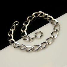 STERLING Silver Vintage Charm Bracelet Oval Scored Links New Old Stock