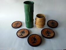 5 FIJI WOOD COASTERS FIJIAN BAMBOO MUG RUM BARREL BEER TIKI BAR WAREHOUSE retro
