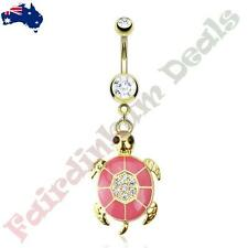 Surgical Steel 14Kt Gold Plated Belly Ring with Pink epoxy Gemmed Turtle Dangle