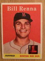 1958 Topps Bill Renna Baseball Card #473 Boston Red Sox Outfield