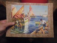 Ancienne Gravure Barques de Pêche ile d'Oléron E Louis Lessieux  : Imp Oberthur