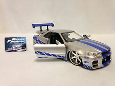 "Fast & Furious Brian's Nissan Skyline GT-R(R34) 8"" Diecast 1:24 Jada Toys Silver"
