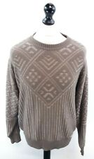 BEER Mens Jumper Sweater L Large Brown Cotton & Polyester Retro Nordic
