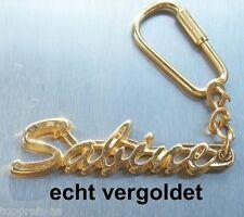 EDLER SCHLÜSSELANHÄNGER SABINE ECHT VERGOLDET GOLD NAME KEYCHAIN KEYRING