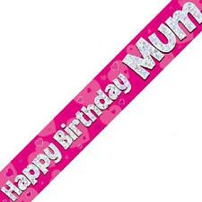 Happy Birthday Mum Party Banner 270cm Long Repeats 3 Times Holographic Pink