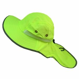 Neck Flap Boonie High Visibility Safety Reflective Bucket Hat Cap Neon Green LOT
