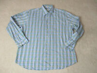 Peter Millar Button Up Shirt Adult Extra Large Blue Green Plaid Long Sleeve Mens