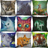 """18"""" Cotton Linen Printing wofl cat tiger Animal pillow case Home Decor Cover"""