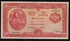 IRELAND 1961   1ST DATE  £20  LADY  LAVERY  BANKNOTE