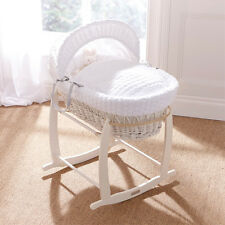 DELUXE WHITE WICKER / WHITE MARSHMALLOW  BABY MOSES BASKET