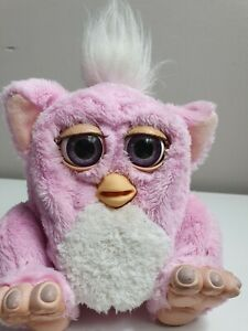 Furby Baby  Tiger Electronics 2005 Rare  PInk & White With Purple Eyes Working