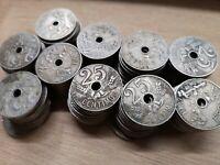 Lote 5 monedas 25 céntimos 1927 Alfonso XIII, España XF a F, spain coin.