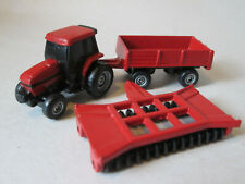 Ertl Case International Tractor, Wagon & Disc Plow Micro Size Farm Machines Mint