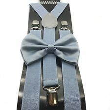 Light Grey Bow Tie & Suspender Set Tuxedo Wedding Formal Men's Accessories