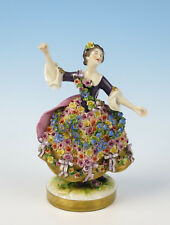 Beautiful Volkstedt Figurine Lady Rose Encrusted Dress German Dresden Porcelain