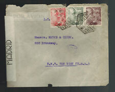 1944 Madrid Spain Censored Cover to New York USA Perfin  Commercial