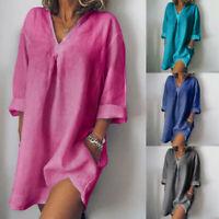 Women Long Sleeve V Neck Mini Dress Summer Long Shirt Dress Tops Blouse Loose