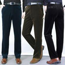Mens Corduroy Straight Leg Pants Slim Fit Trousers Bottoms Smart Casual