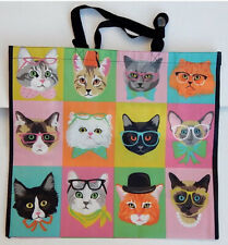 Cats In Glasses~REUSABLE SHOPPING TRAVEL TOTE BAG ECO FRIENDLY TJ MAXX NEW