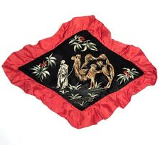 Vintage FrenchHand Embroidered Velvet Satin Sofa Pillow, Desert Scene, Camel