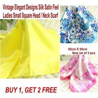 Lot 3 Pcs New Fashion Elegant Silk Satin Womens Small Square Head Neck Scarf 100