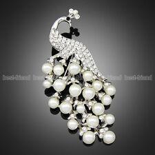 "Silver Tone Large 2.9"" Rhinestone Diamante Pearl Peacock Brooch Broach Women Pin"