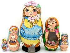 Genuine OOAK Russian HAND PAINTED MATT nesting dolls 5 Vintage Girls Postcards
