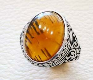 Turkish Baltic Amber 925 Sterling Silver Men's Ring Heavy Signet Jewelry P1624