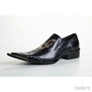 Mens Oxford Carving Dragon Metal Pointed Toe Slip On Leather Casual Brogue Shoes