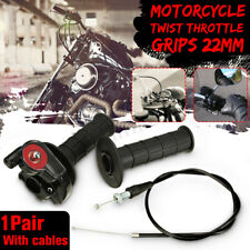 7/8'' 22mm Motorcycle Accelerator Twist Quick Action Throttle Black Grip & Cable