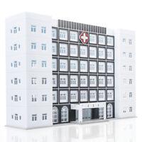 1/150 N Scale Hospital Buildings Model Office Skyscraper Assembled Plastic Parts