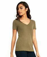 Women's Basic V-Neck Elbow Sleeve T-Shirt Short Sleeve Stretchy Top NL1540