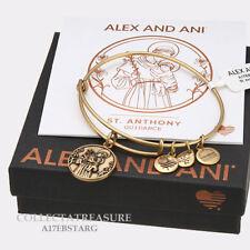 Authentic Alex and Ani Saint Anthony ii Rafaelian Gold Charm Bangle