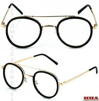 Men Women Classic Vintage LENNON Style Clear Lens EYE GLASSES Black & Gold Frame